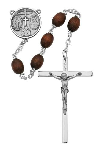 6 x 8mm Oval Shaped Brown Wood Rosary - St. Mary's Gift Store