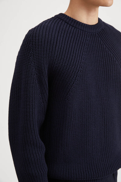 SIGNATURE WOOL CREW NECK SWEATER - NAVY