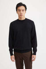 Aging Wool Knit Crew Neck Sweater - Black