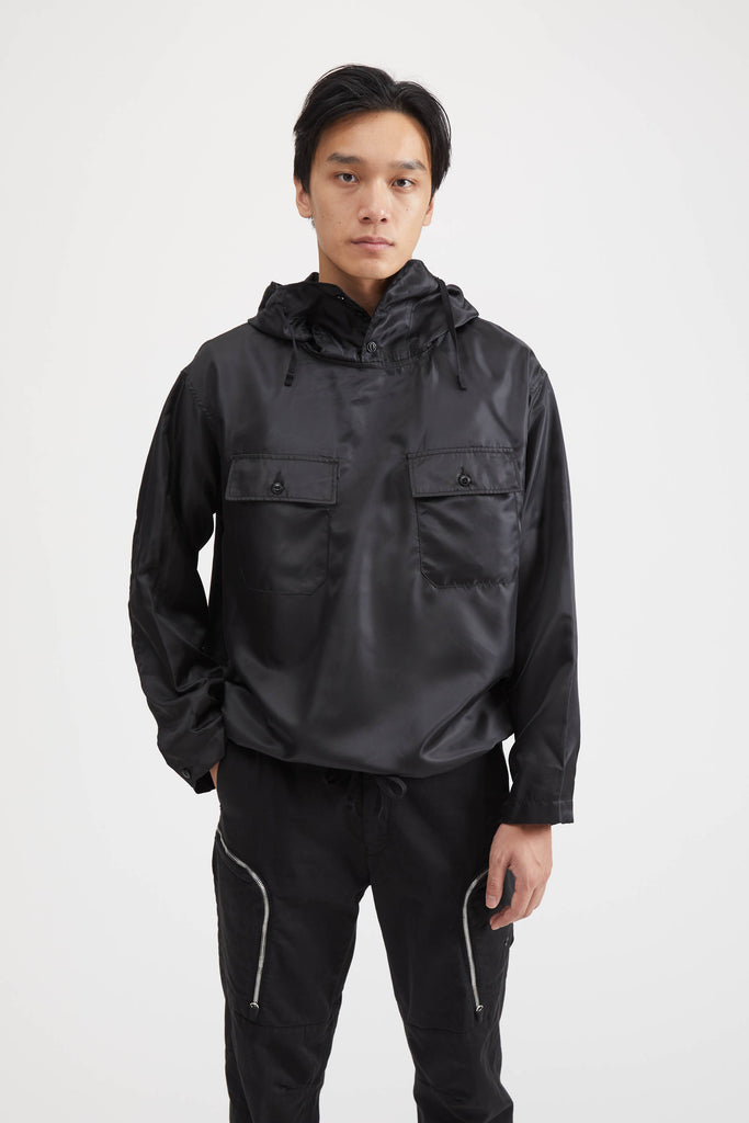 CAGOULE SHIRT POLYESTER PILOT TWILL - BLACK