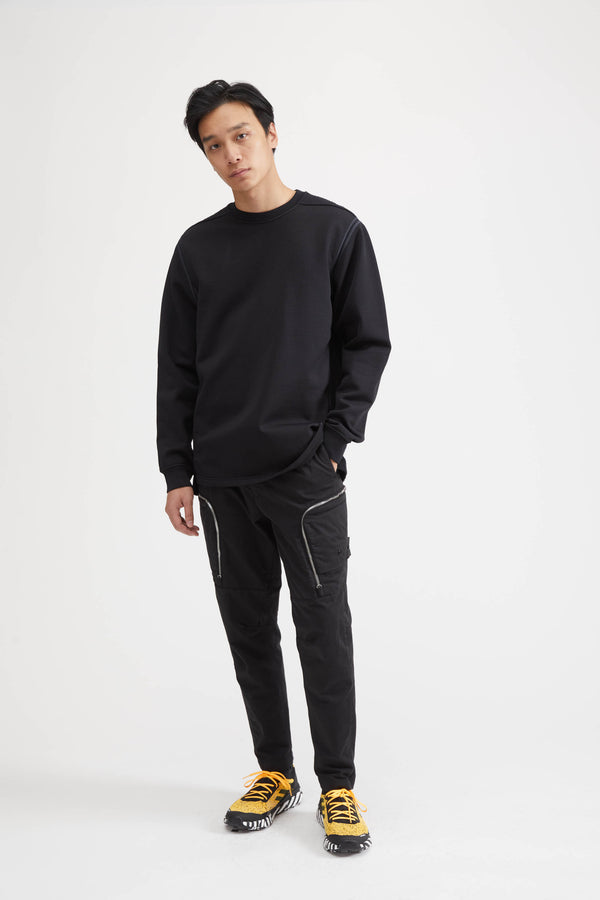 60207 Shadow Project Felpa Nylon Crew Sweatshirt - Black