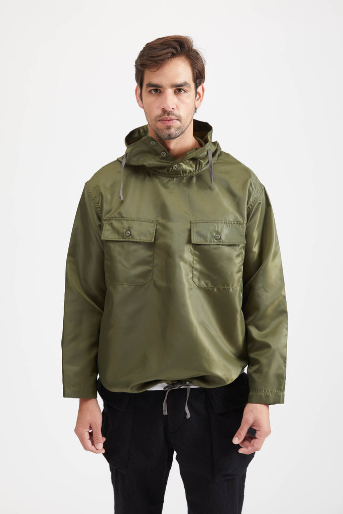 CAGOULE SHIRT POLYESTER PILOT TWILL - OLIVE
