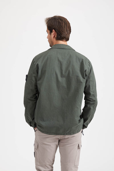 107WN Tela Smerigliata 'Old' Effect Overshirt - Musk