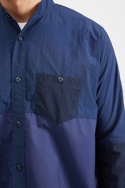 SIDE ZIP OVERSIZED SHIRT - NAVY