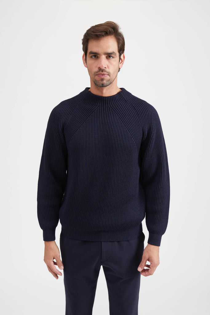 SIGNATURE WOOL MOCK NECK SWEATER - NAVY