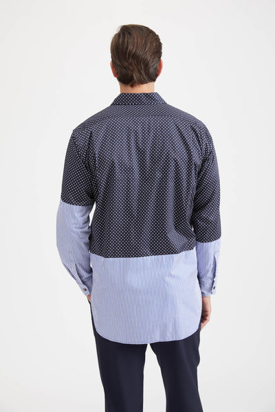 SPREAD COLLAR SHIRT COTTON BIG POLKA DOT BROADCLOTH - NAVY