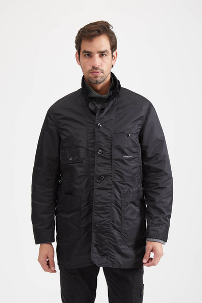 LONG LOGGER JACKET FLIGHT SATIN NYLON - BLACK