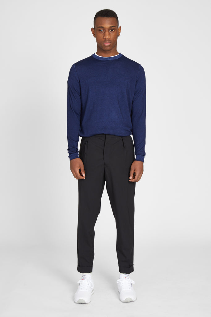 CASHMERE WOOL CREW SWEATER - NAVY
