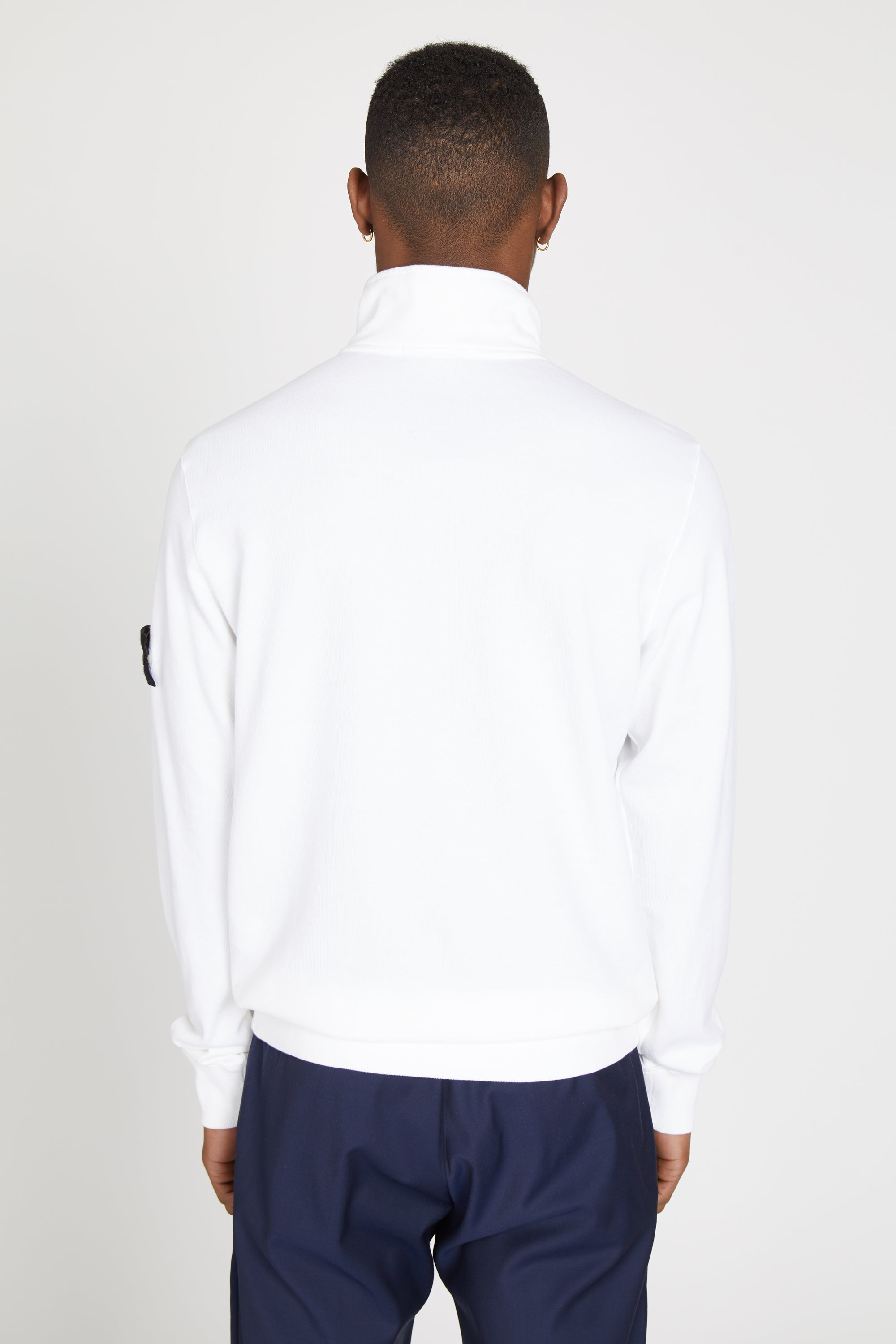 65556 LIGHT MAKO FLEECE HALF ZIP SWEATSHIRT - WHITE