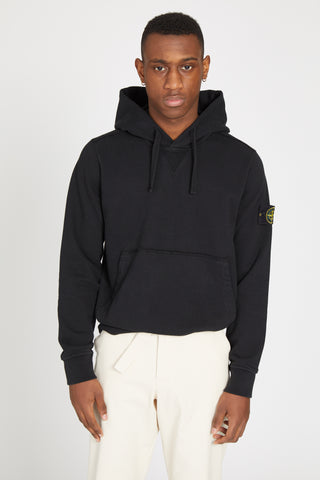 62840 COTTON FLEECE PULLOVER POCKET HOODY - BLACK