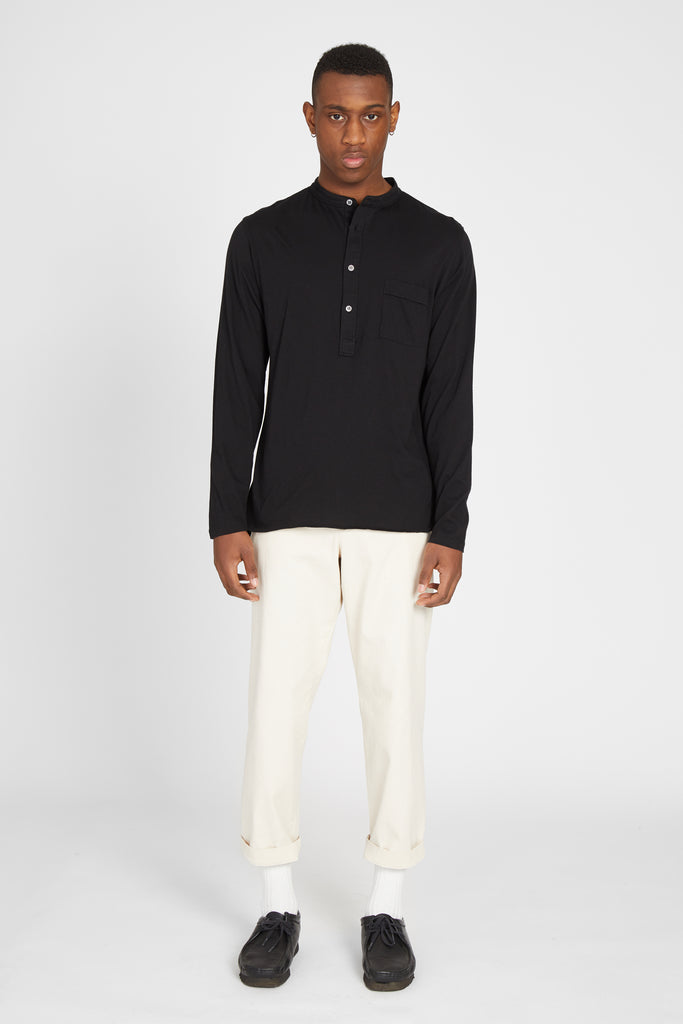 NALIN PIMA COTTON HENLEY - NERO