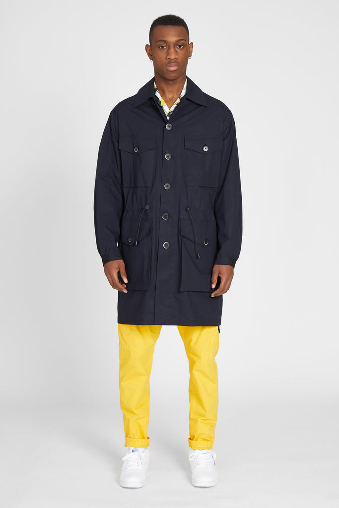 FIERA RUSPIO SATEEN OVERCOAT - NAVY