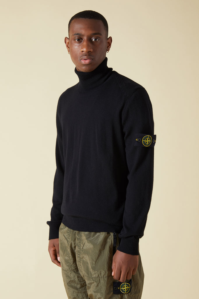 537C4 SLUB WOOL GARMENT DYED TURTLENECK - BLACK