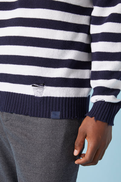 DISTRESSED KNIT STRIPE SWEATER - NAVY/WHITE