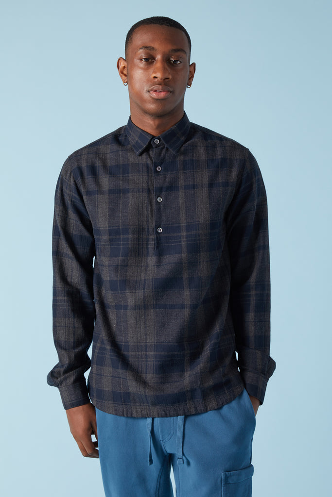 PAVAN POLVO PLAID PULLOVER SHIRT - CHARCOAL
