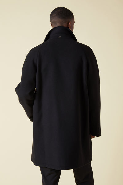 WOOL INSULATED RAGLAN COAT - BLACK