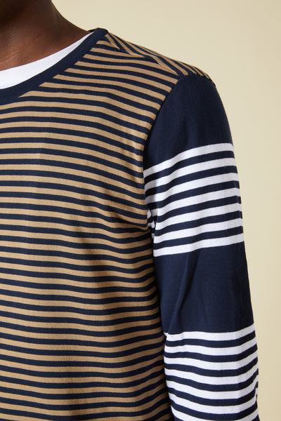 ARCTIC COTTON CONTRAST SLEEVE STRIPE SWEATER - BEIGE/NAVY