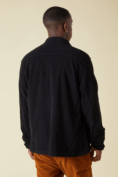 11502 STRETCH COTTON MOLESKIN OVERSHIRT - BLACK