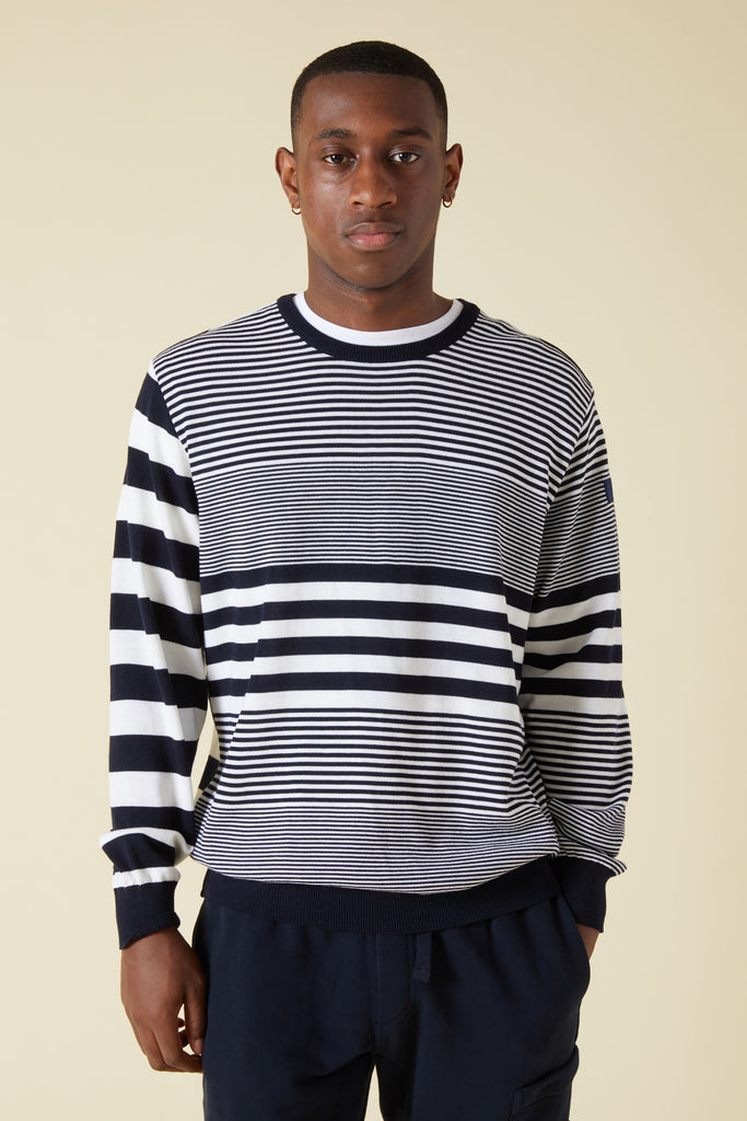 COOL TOUCH WOOL STRIPE KNIT SWEATER - NAVY