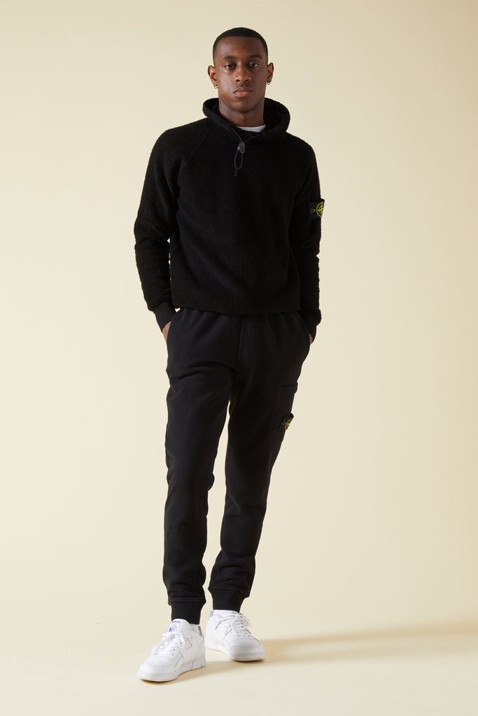 60320 BRUSHED COTTON FLEECE SWEATPANTS - BLACK