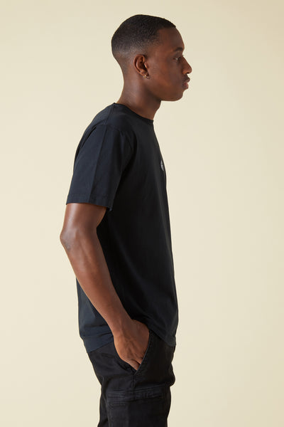 2NS85 ISTITUTIONAL PRINT GARMENT DYED TSHIRT - BLACK