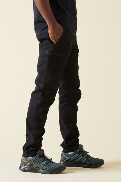 321LN STRETCH BROKEN TWILL CARGO PANTS - BLACK
