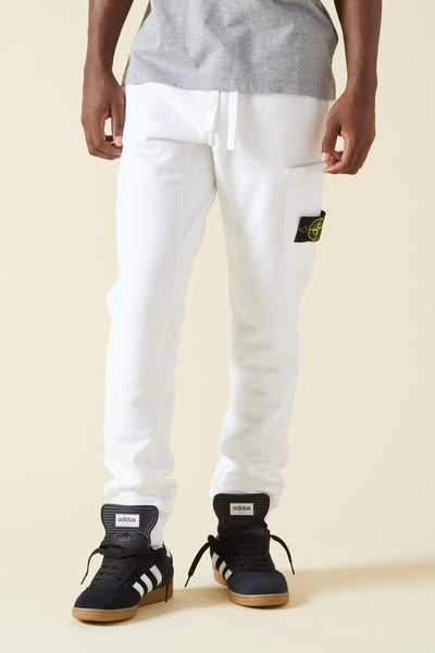 60320 BRUSHED COTTON FLEECE SWEATPANTS - WHITE