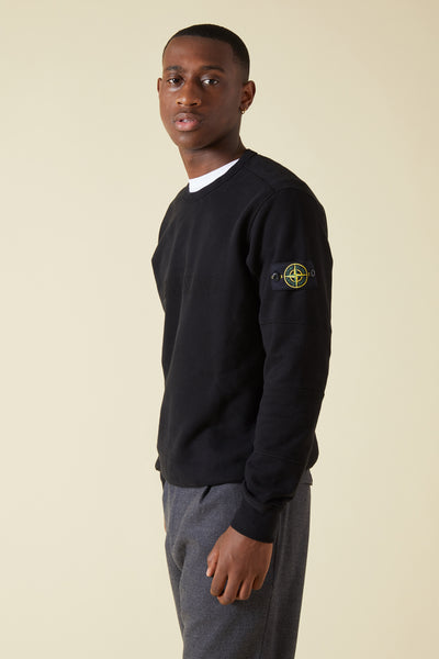 63420 BRUSHED COTTON FLEECE LOGO SWEATSHIRT - BLACK