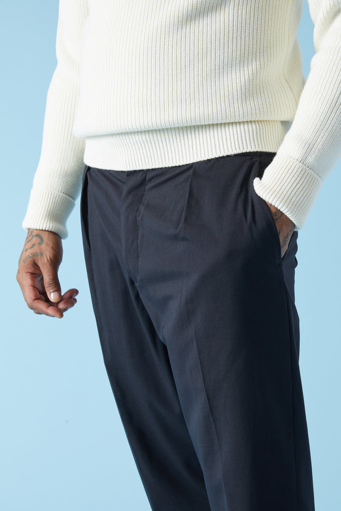 NITRO TROPICO SUMMER WOOL TROUSERS - NERO