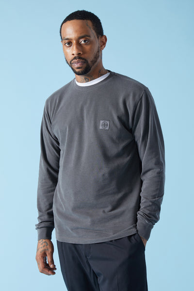 21167 PIQUE LONG SLEEVE TSHIRT - CHARCOAL