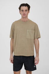 Crew Neck Pullover T-Shirt - Brown