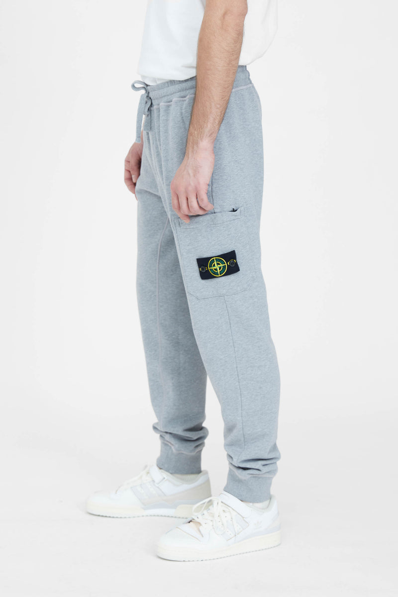 64551 Cotton Fleece Garment Dyed Cargo Sweat Pants - Melange Grey