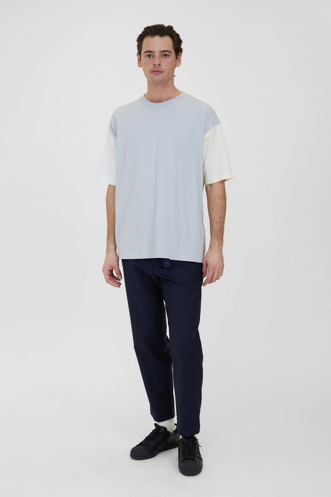 Color Panel Oversized T-Shirt - Light Grey Dry Touch Cotton Cupra