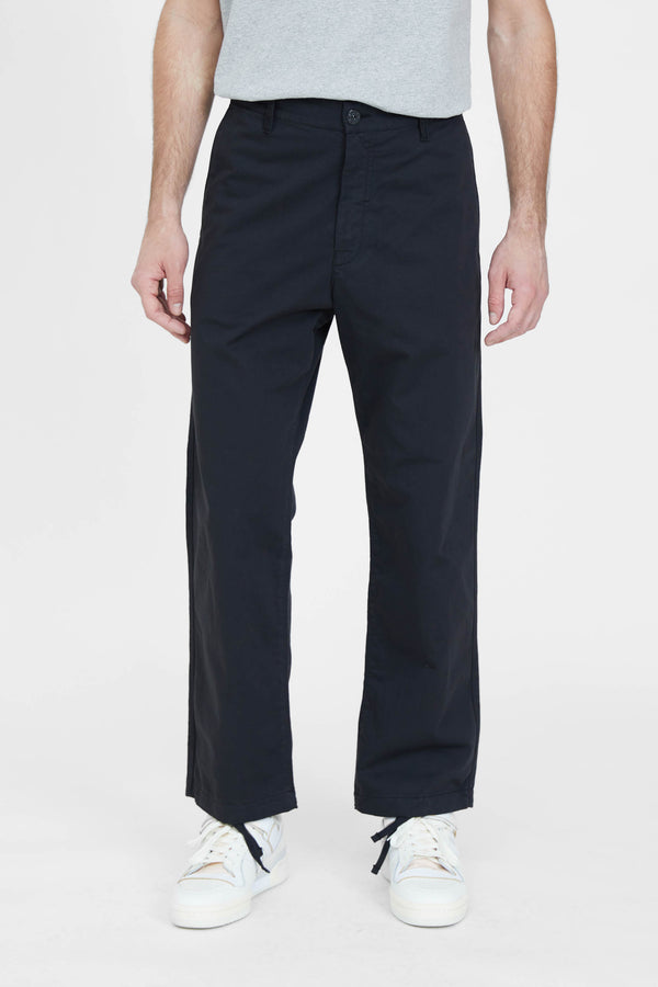 30108 Raso Cotone Trama Nera Straight Pants - Black