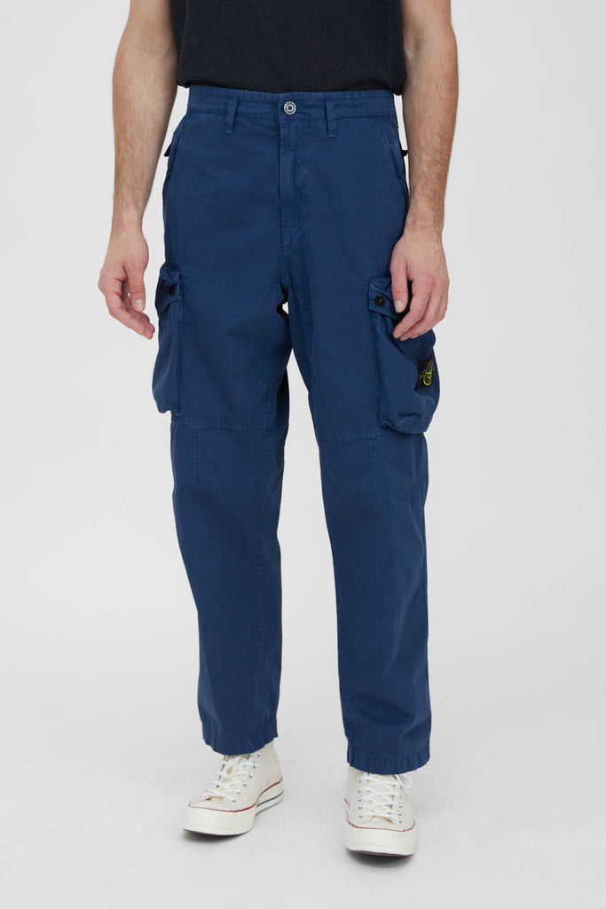 319WA Brushed Cotton Canvas Loose Cargo Pants - Dark Blue