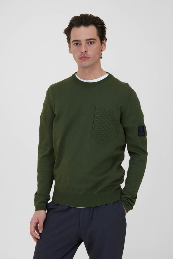 506A4 Cotton Silk Gauge 14 Catch Pocket Crew Neck - Olive