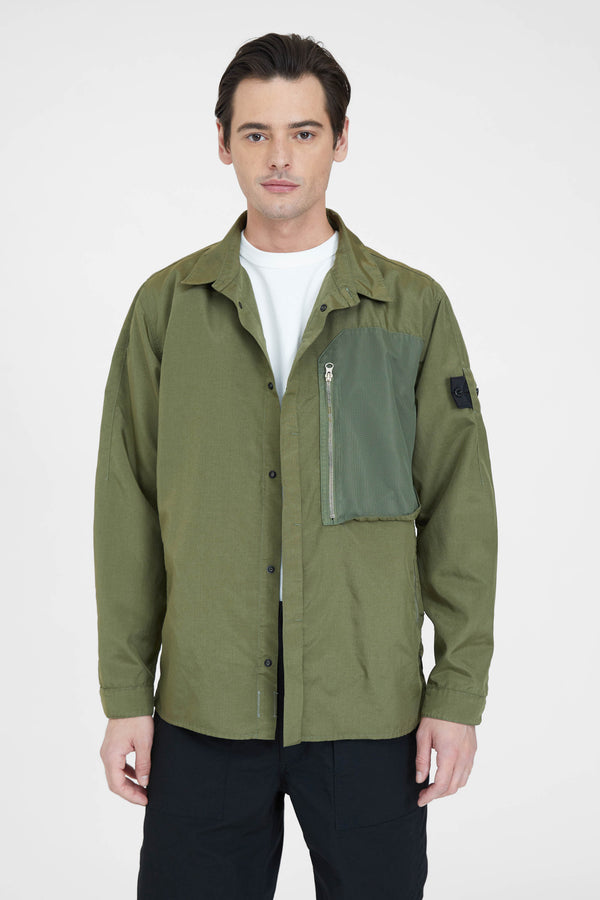 10102 Hollow Core Poly Light Vented Over Shirt - Olive