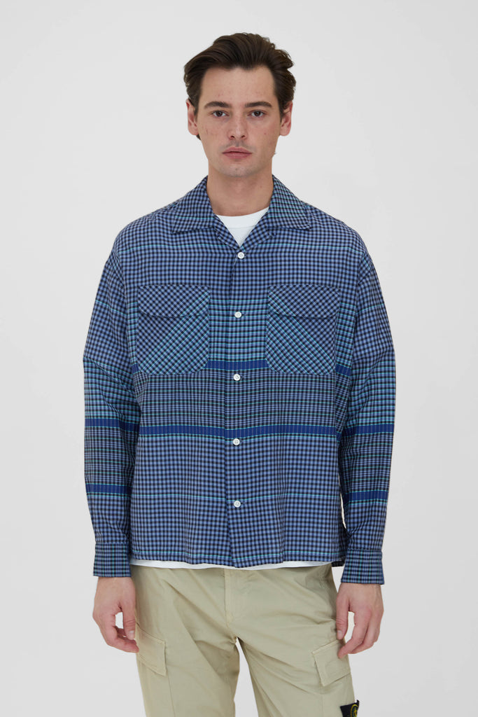 Round Flap Pocket Baggy Shirt - Blue Wide Pitch Gingham Plaid Cotton Silk Cloth