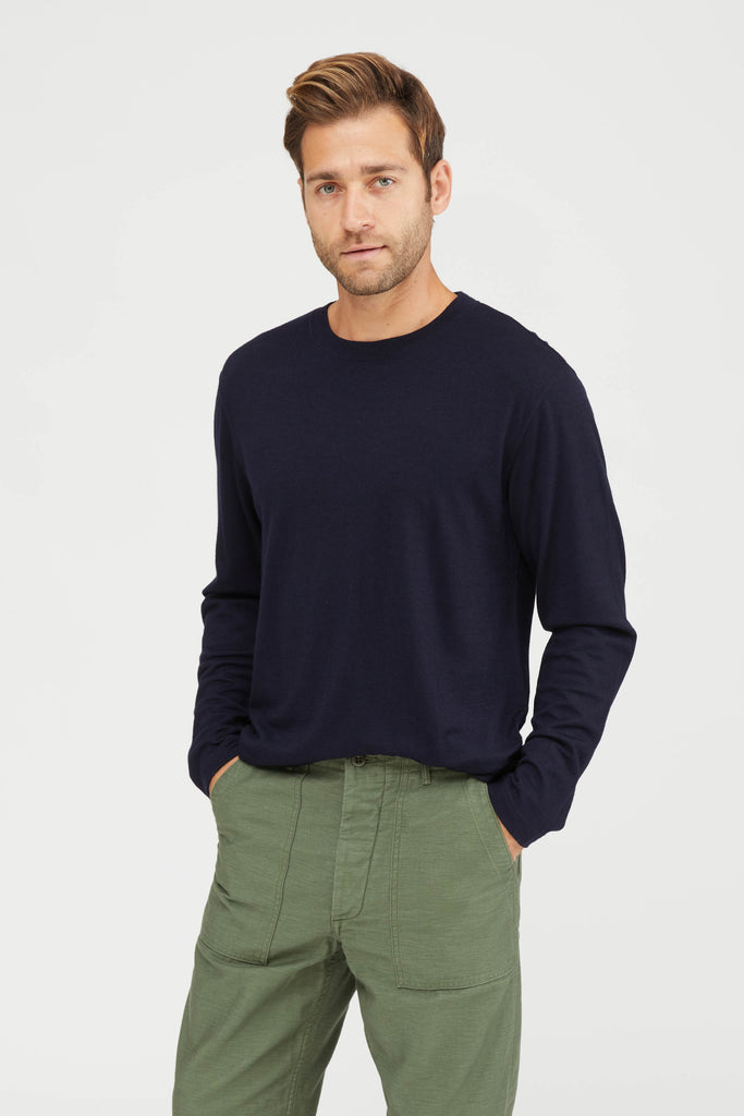 Washable High Gauge Wool Jersey Crew Neck Shirt - Navy