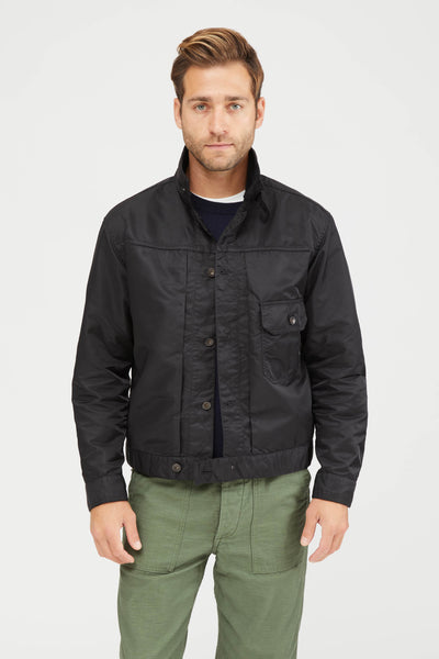 TRUCKER JACKET FLIGHT SATIN NYLON - BLACK
