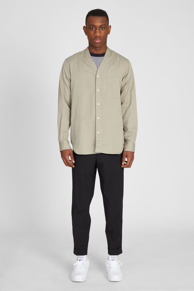 SWISS SATIN COTTON CARDIGAN SHIRT - BEIGE
