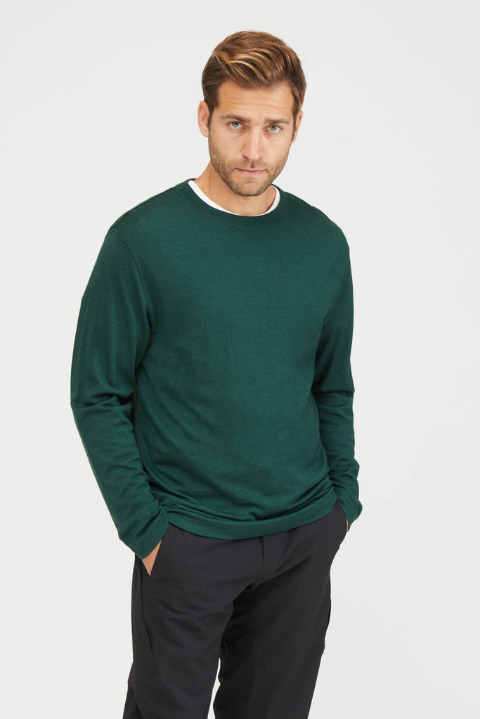 Washable High Gauge Wool Jersey Crew Neck Shirt - Green