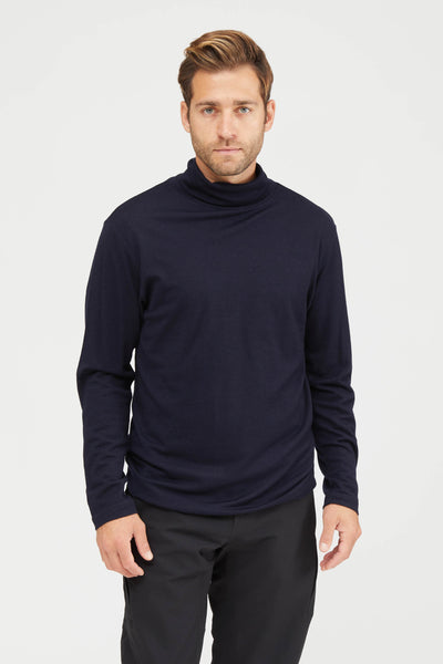WASHABLE HIGH GAUGE WOOL JERSEY TURTLE NECK SHIRT - NAVY