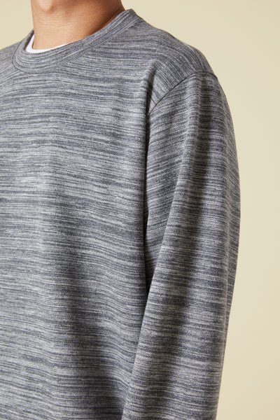 BRUSHED BACK COTTON DOUBLE JERSEY CREW SHIRT - GRAY