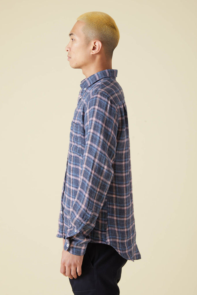 CHATHAM SHIRT LINEN FLANNEL CHECK - PINK