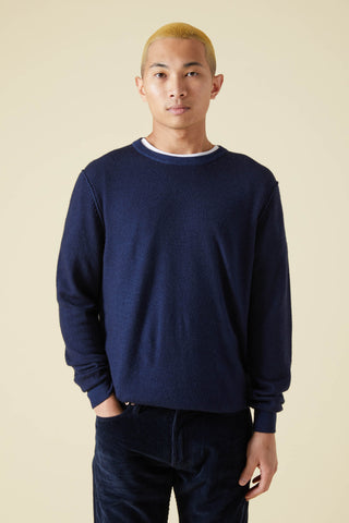 WOOL & CASHMERE CREW SWEATER - NAVY