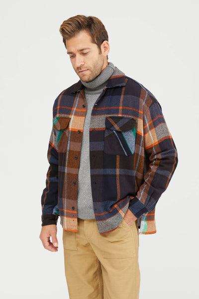 Large Pitch Plaid Wool Nylon Baggy Shirt - Navy