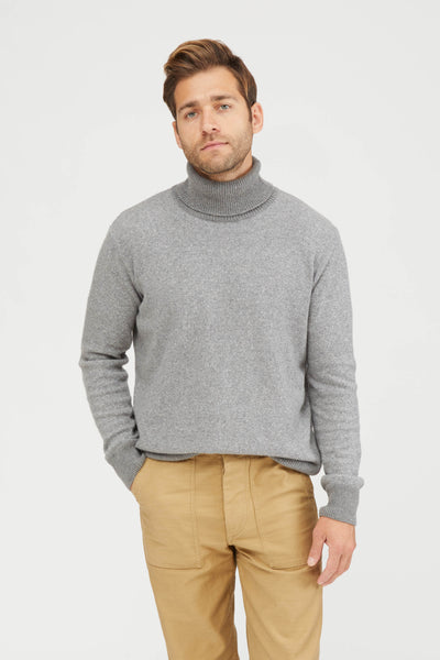 VANISE KNIT TURTLE NECK COTTON CASHMERE - GREY