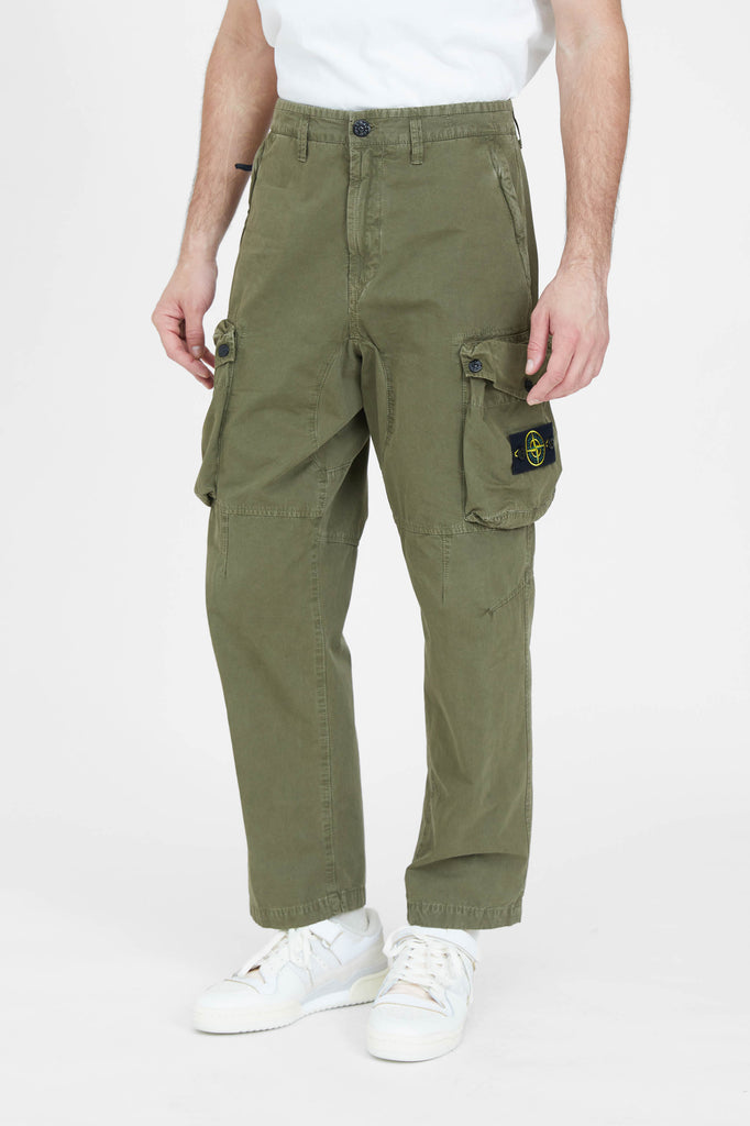 319WA Brushed Cotton Canvas Loose Cargo Pants - Olive