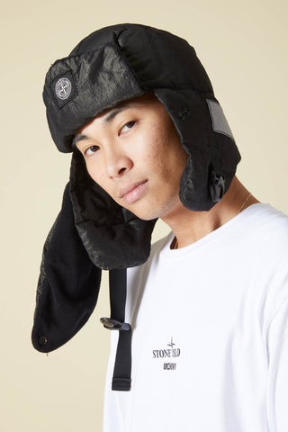 99211 COTTON METAL TINTO CAPO PUFFER HAT - BLACK